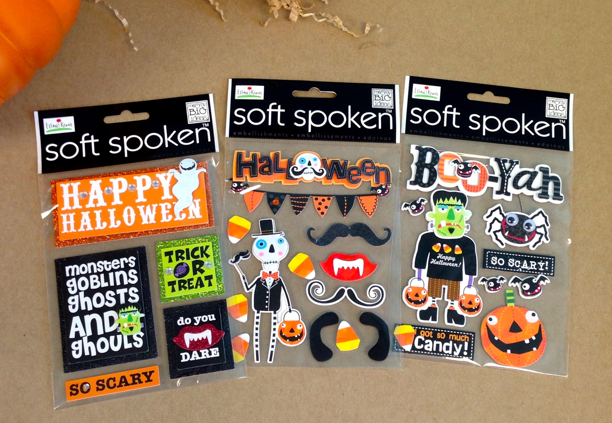 Halloween soft spoken mambi embellishments available at michaels stores.