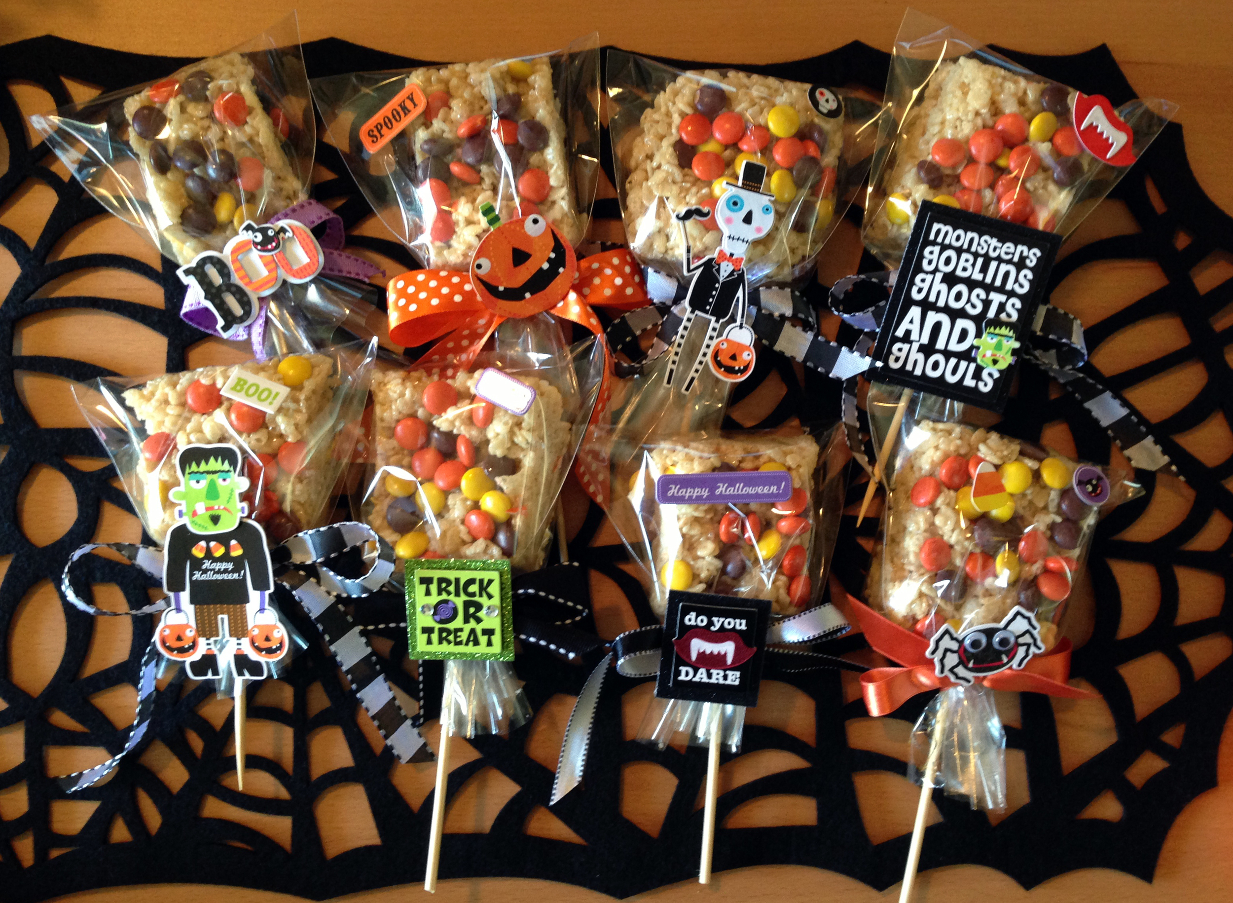 Rice Krispy treats with mambi soft spoken embellishment decorations. available at michaels. so cute!