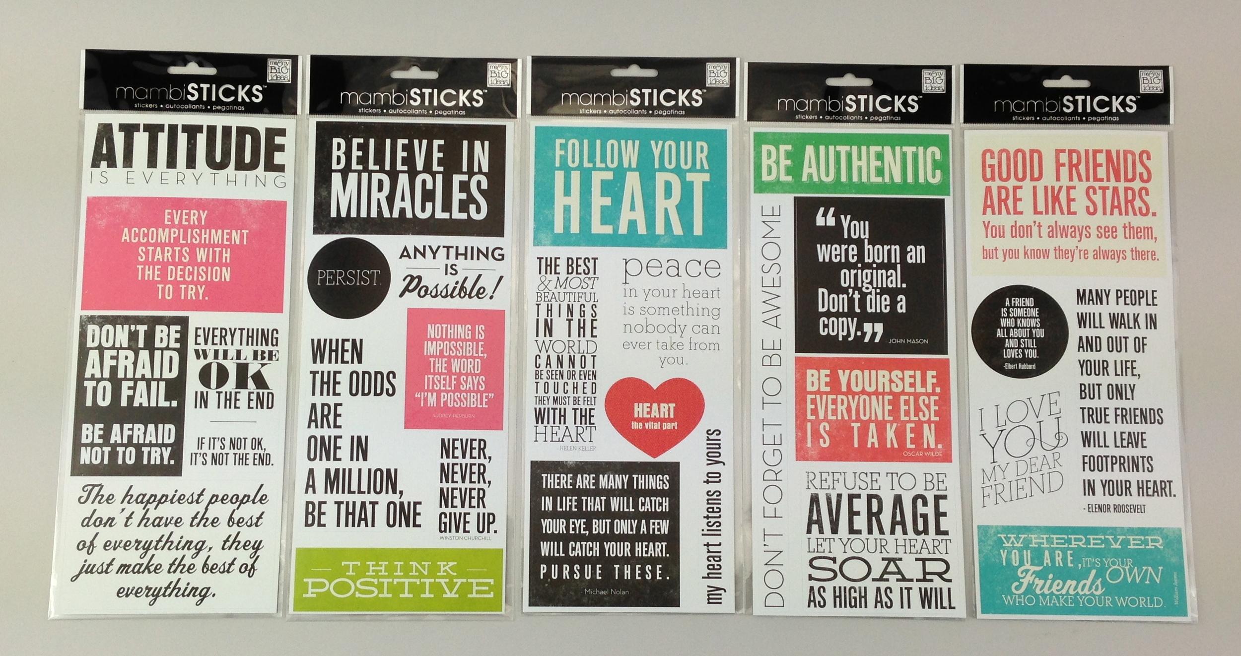 mambiSTICKS inspirational me & my BIG ideas stickers. mambi blog.