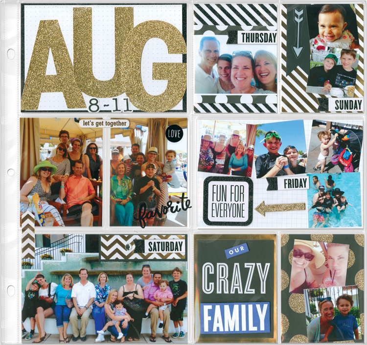 me & my BIG ideas scrapbook layout, POCKET PAGES. now available at Michaels stores