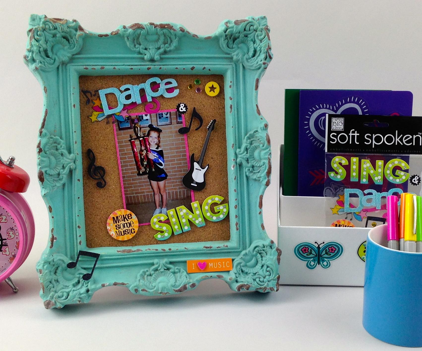 Dance Sing Frame - Easy Girl Frame Decor for girls room on mambi blog. use soft spoken to decorate.