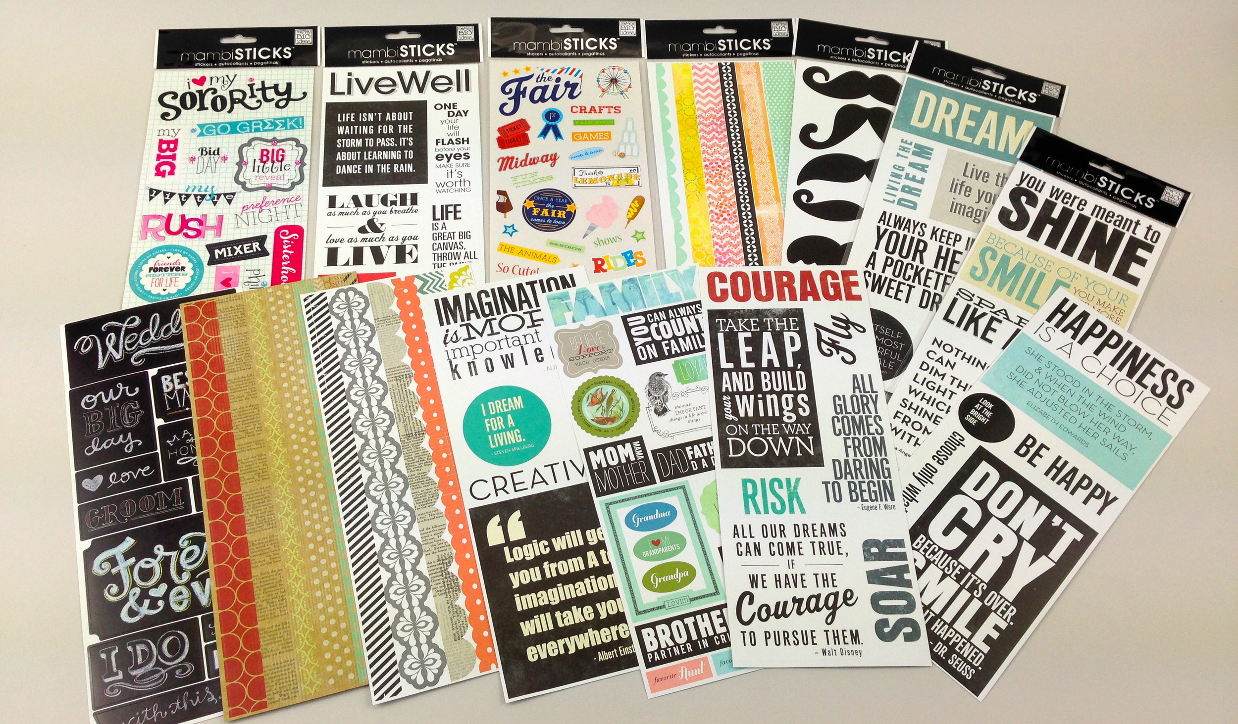 new mambi stickers at Hobby Lobby ... sorority, quotes, wedding, fair, mustaches, family stickers.  FUN!