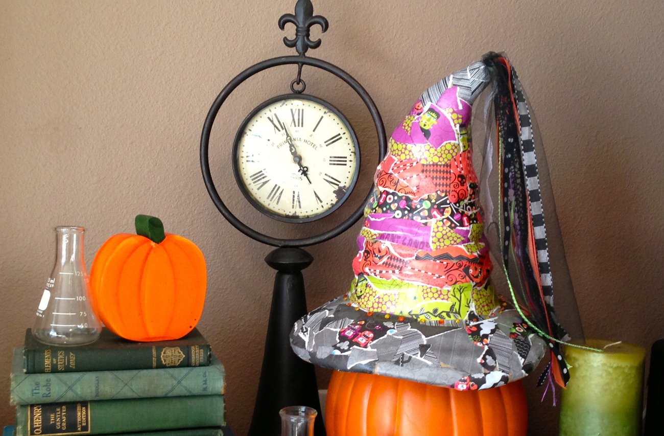 Witch hat covered in mambi paper pad. Available at Michaels. Great home DIY decoration.