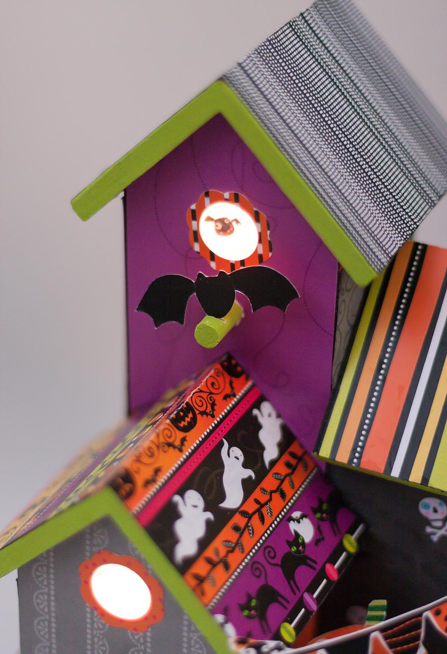 mambi bat house.  birdhouse covered in me & my BIG ideas paper pad & embellishments available at Michaels.
