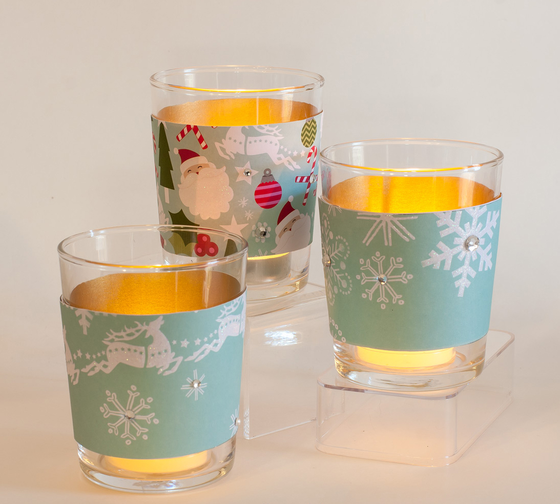 holiday votives made with mambo paper pad.  (on mambi blog)