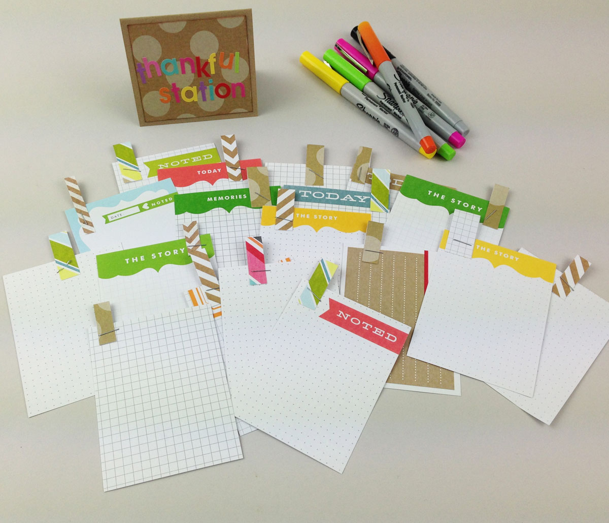 Thankful Station on the mambi blog. Say what you're thankful for in your POCKET PAGES scrapbook album. Great way to document your Thanksgiving.