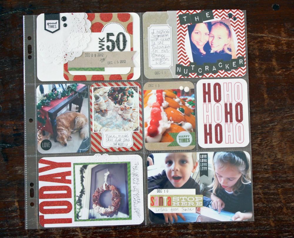Scrapbooking POCKET PAGES layout on the mambi blog. Adorable Christmas spread.