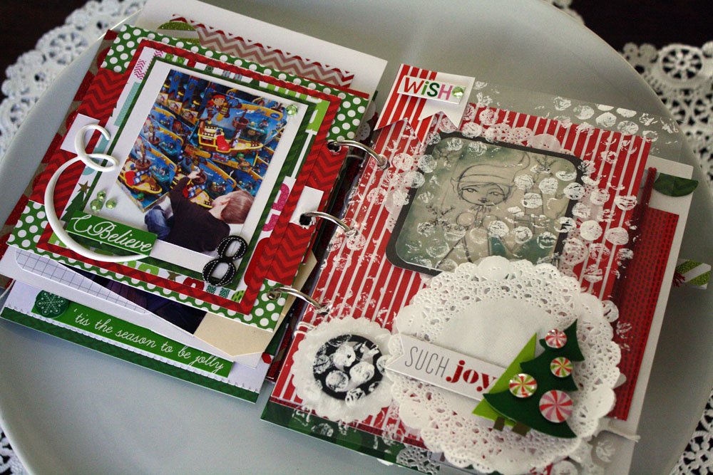Mini album with mambi Christmas scrapbooking items. Lots of cute decorations for a crafty day.