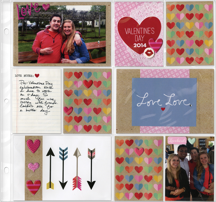 Free printables pocket pages layout. Valentine's day scrapbook layout.