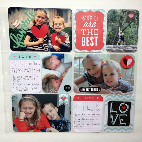 Love POCKET PAGES layout with kid journaling.  Great DIY scrapbook page.