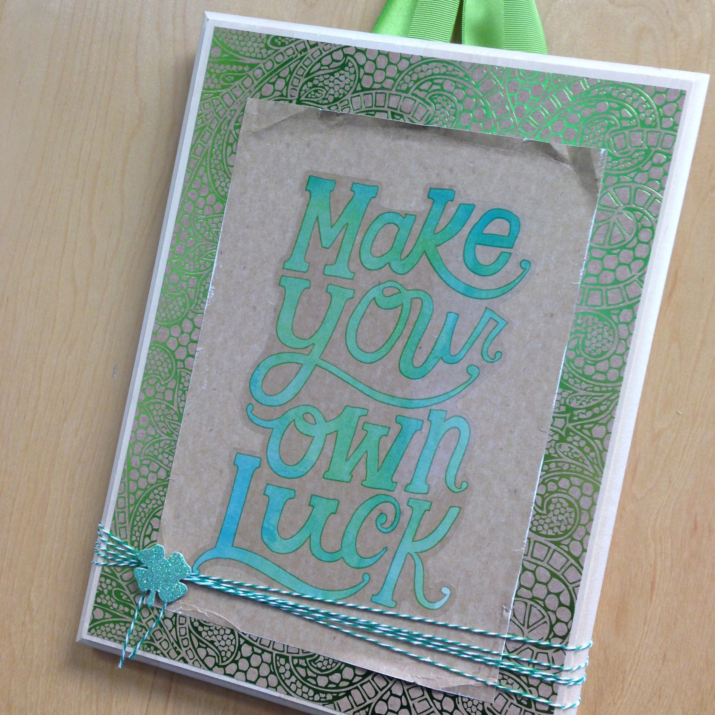 Make Your Own Luck St. Patrick's Day themed hanging DIY decor using mambi JUMBO stickers now at Michaels. .jpg