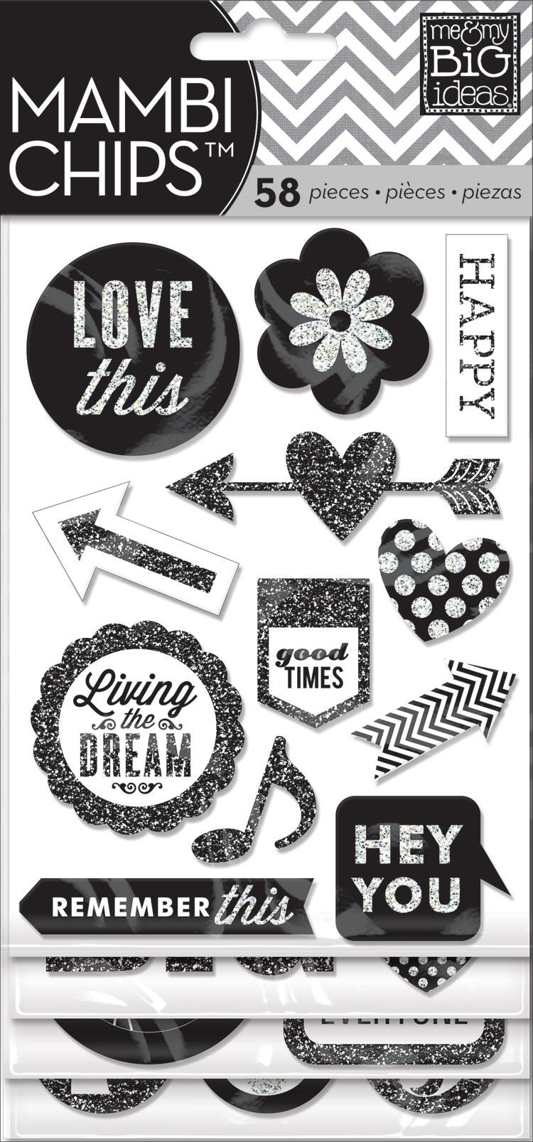 CBVX-18 Black & White glitter embellished chipboard stickers. Scrapbook mambiCHIPS.
