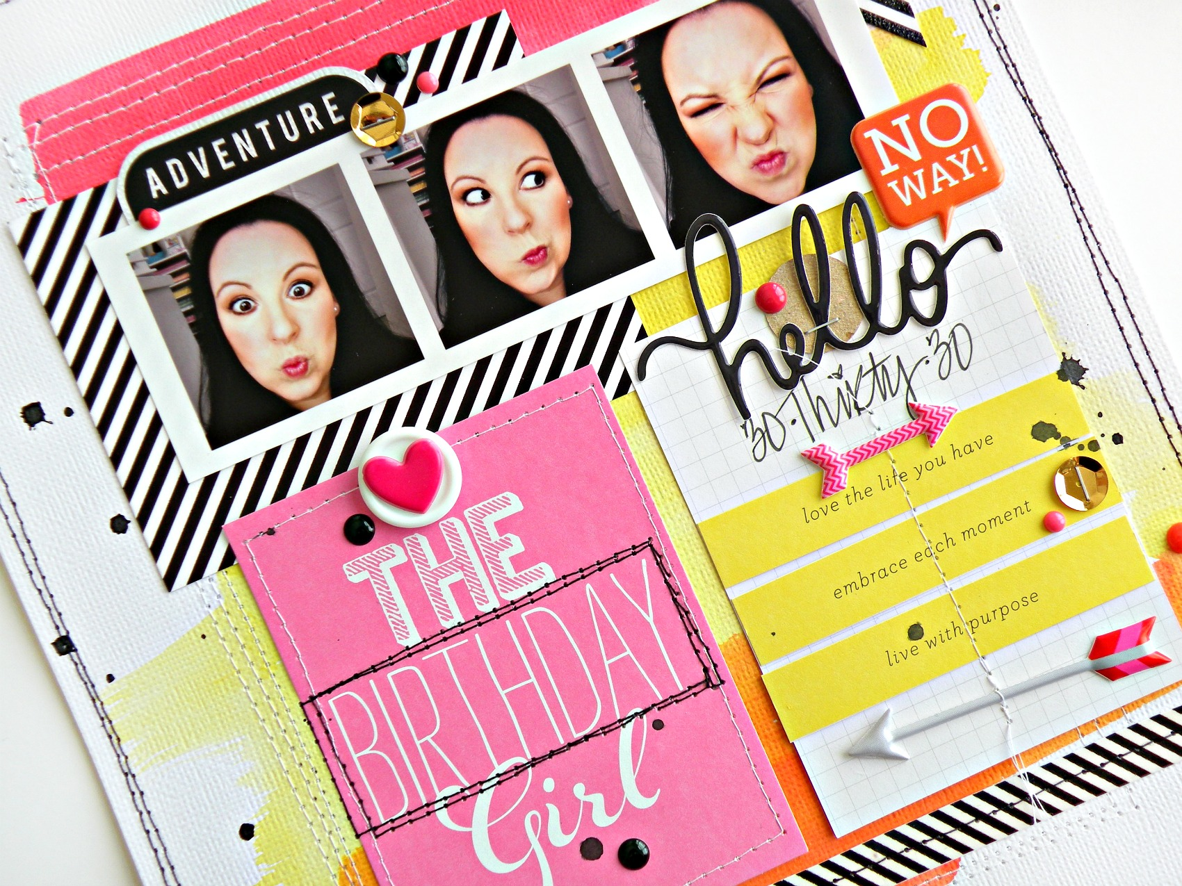 Hello Birthday Girl layout on the mambi blog.  me & my BIG ideas scrapbook page.