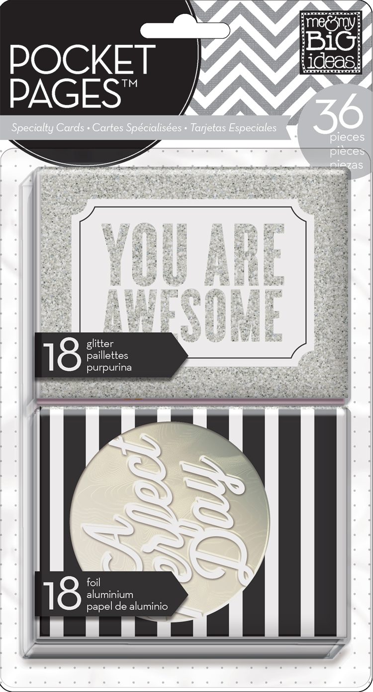 me & my BIG ideas:  You Are Awesome glitter & foil embellished POCKET PAGES cards for scrapbooking or card making.