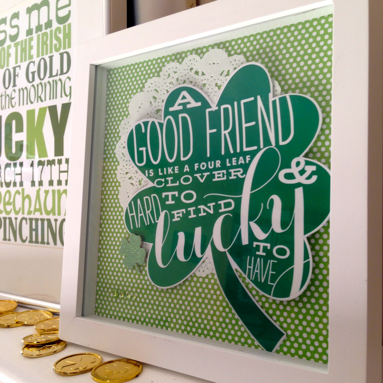 Jumbo mambi stickers & a St. Patrick's Day DIY craft, framed shamrock friends.