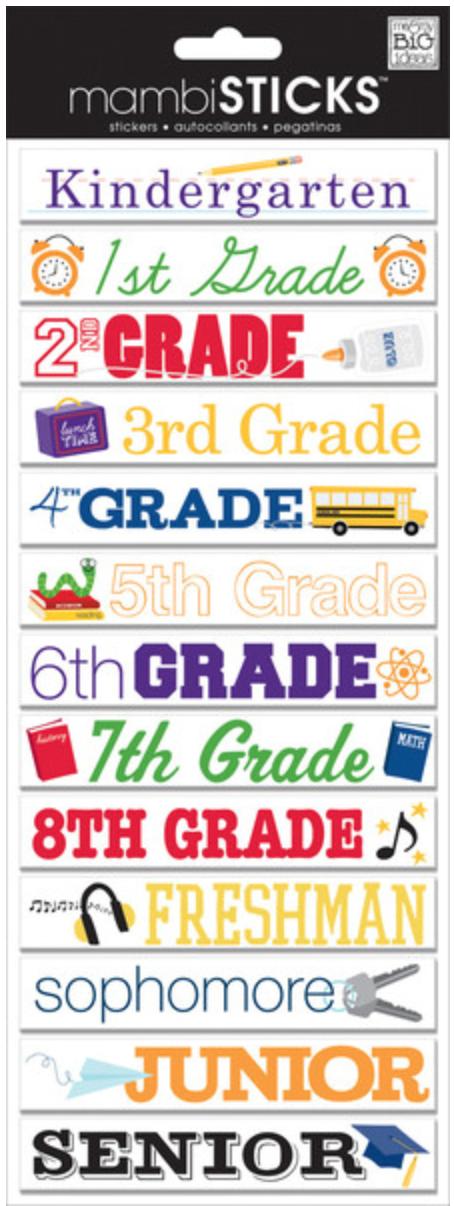 CBP-171 School Grades mambiSTICKS.  me & my BIG ideas chipboard embellishments.