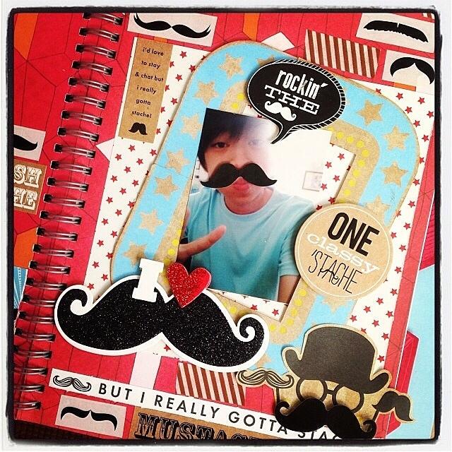 mambi mustache scrapbooking page kit