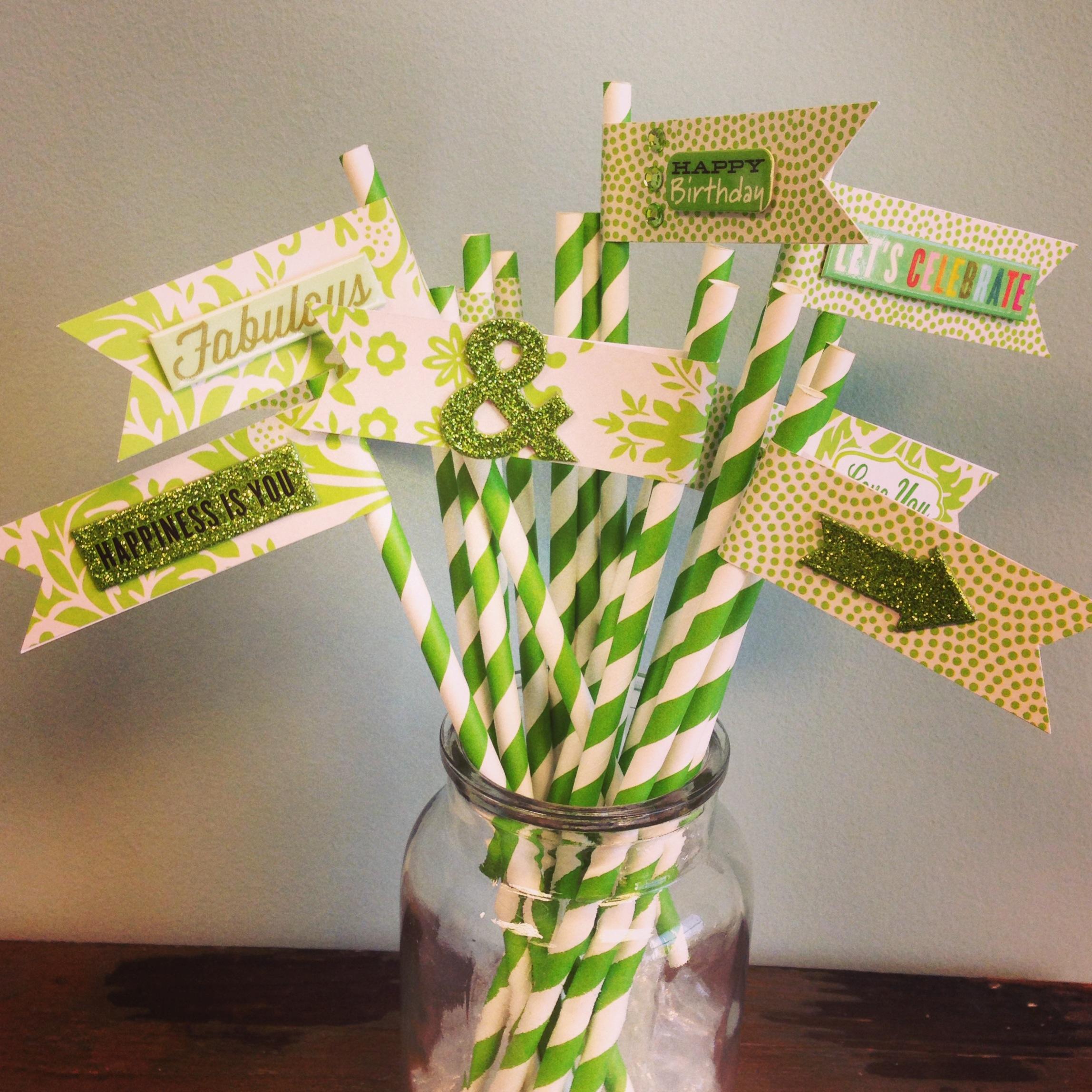 mambi:  Green themed party DIY straws.