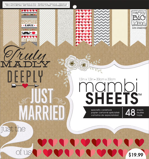 PADX-262 Kraft Wedding Paperpad.  mambiSHEETS with a love theme. Great DIY companion for your crafting.