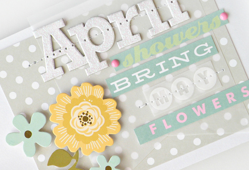 April handmade card using mambi embellishments.