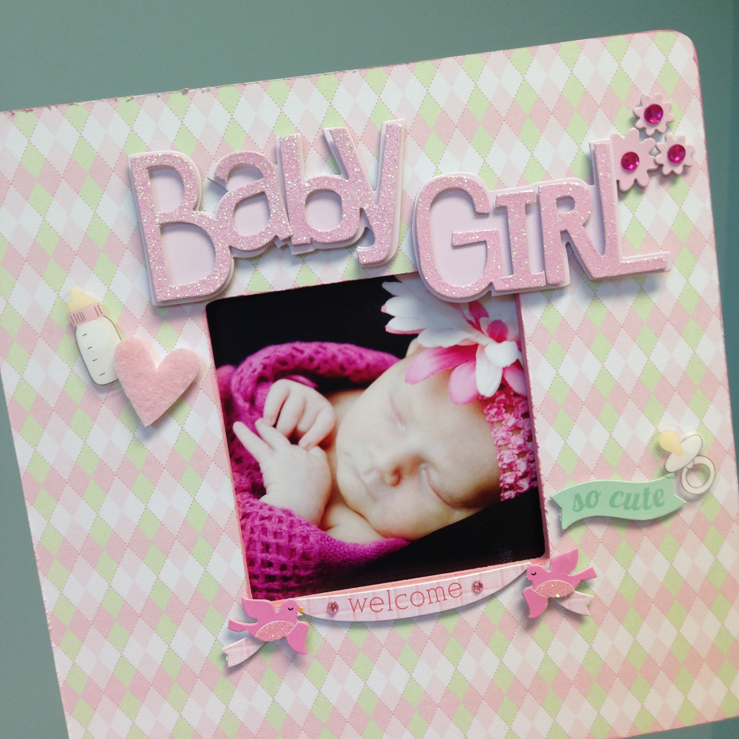 baby girl frame with mambi paper and soft spoken.  owl fun!
