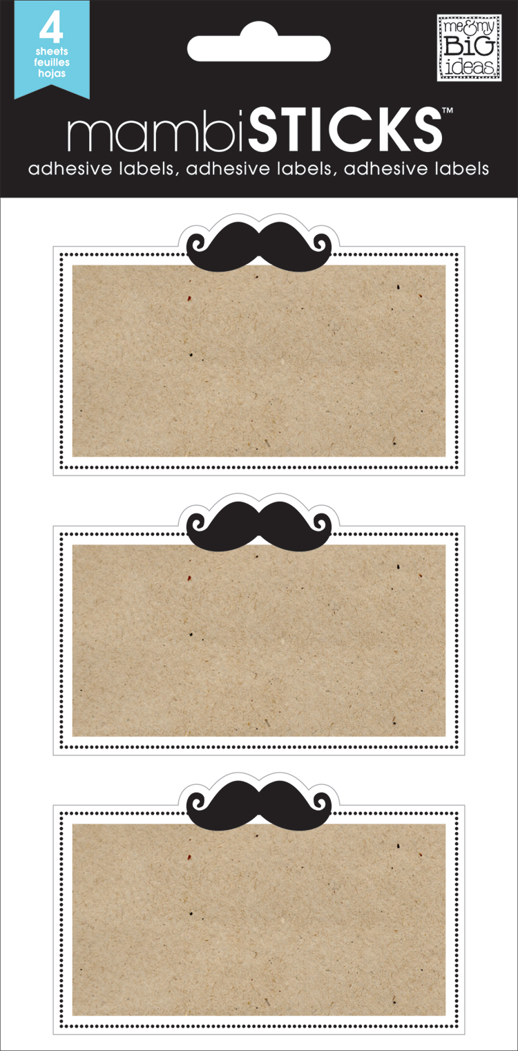 LABL-02 Mustache name tag stickers on the mambi blog.