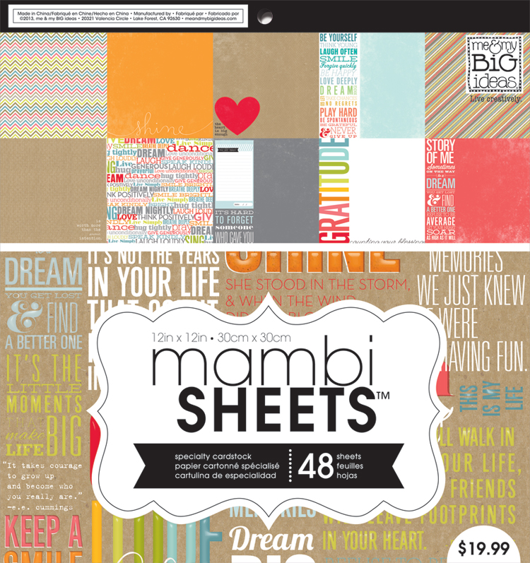 PADX-263 mambiSHEETS inspiration quotes paper pad for scrapbooking and card making.