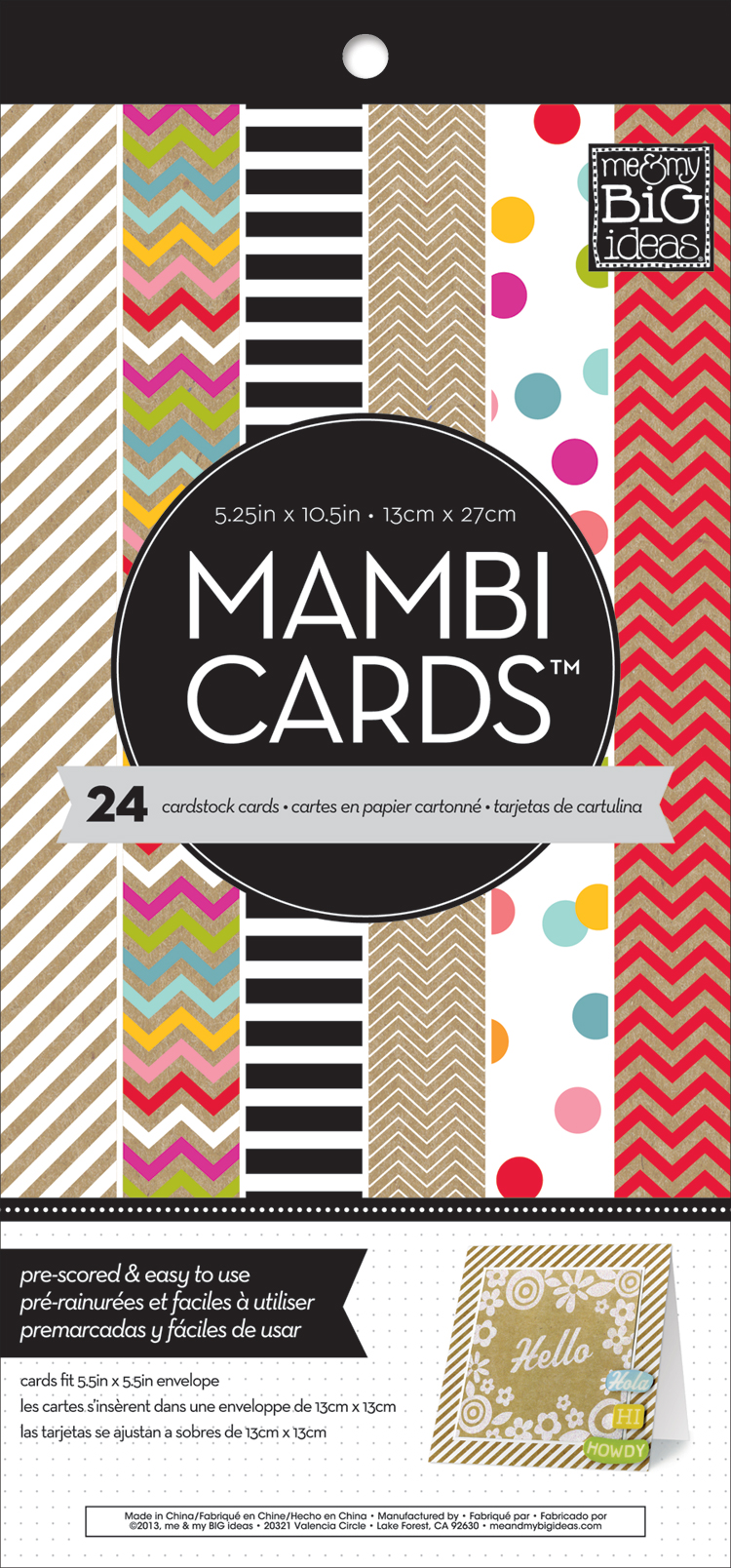 Confetti & Kraft CARDS in an INSTANT mambi card pad.