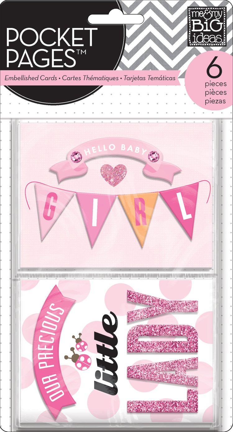 Baby Girl:  mambi POCKET PAGES embellished and 3D cards for card making and crafting.