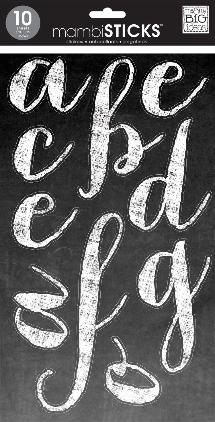Chalk Script White - Lowercase mambi jumbo stickers