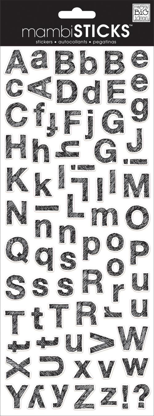 mambi blog - Sketchbook Black and white alphabet mambiSTICKS - stickers.