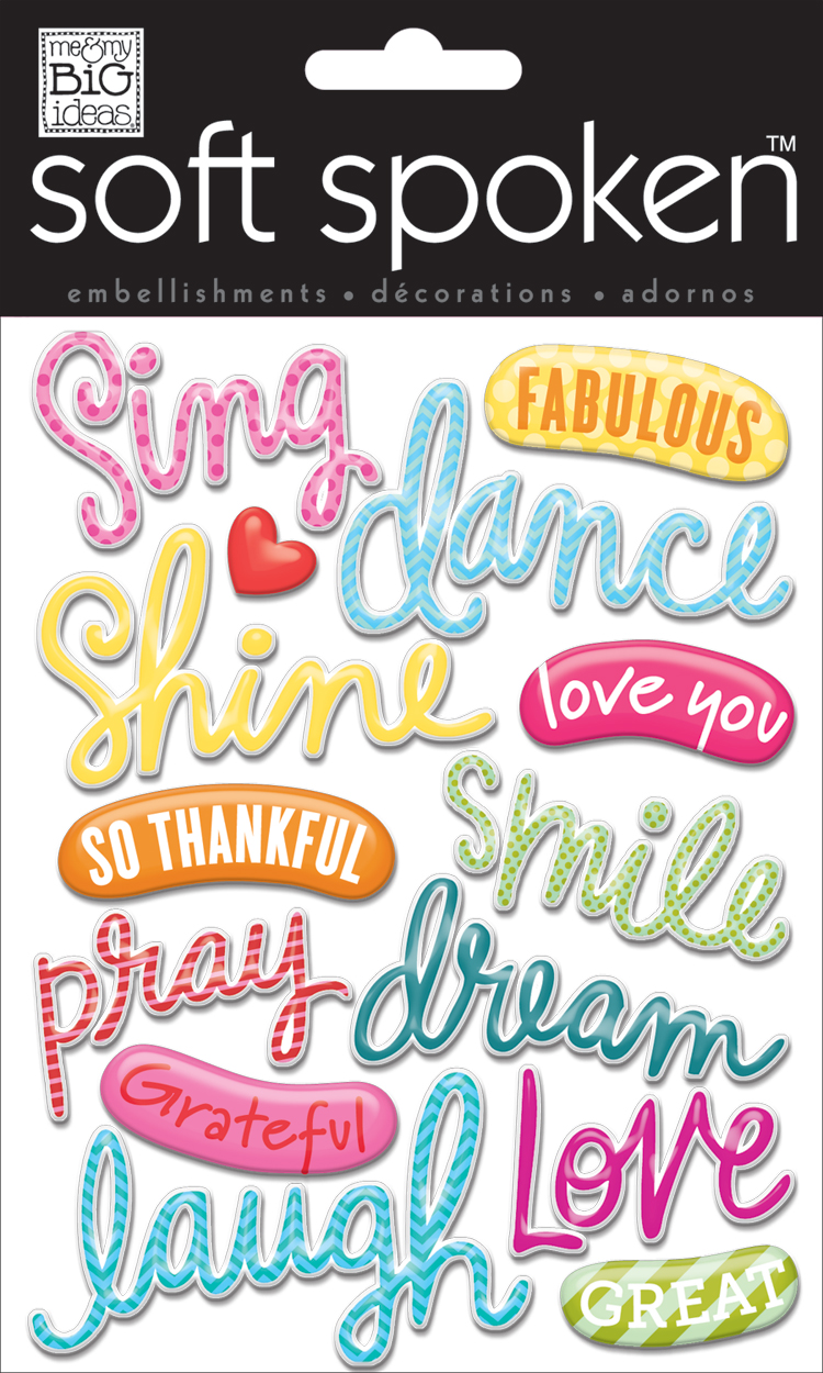 Sing, Dance, Shine soft spoken embellishments used on the mambi blog on an adorable scrapbook page.