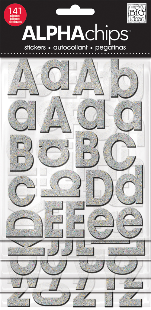Silver chipboard glitter alphabet letters on scrapbook layout - mambi blog.