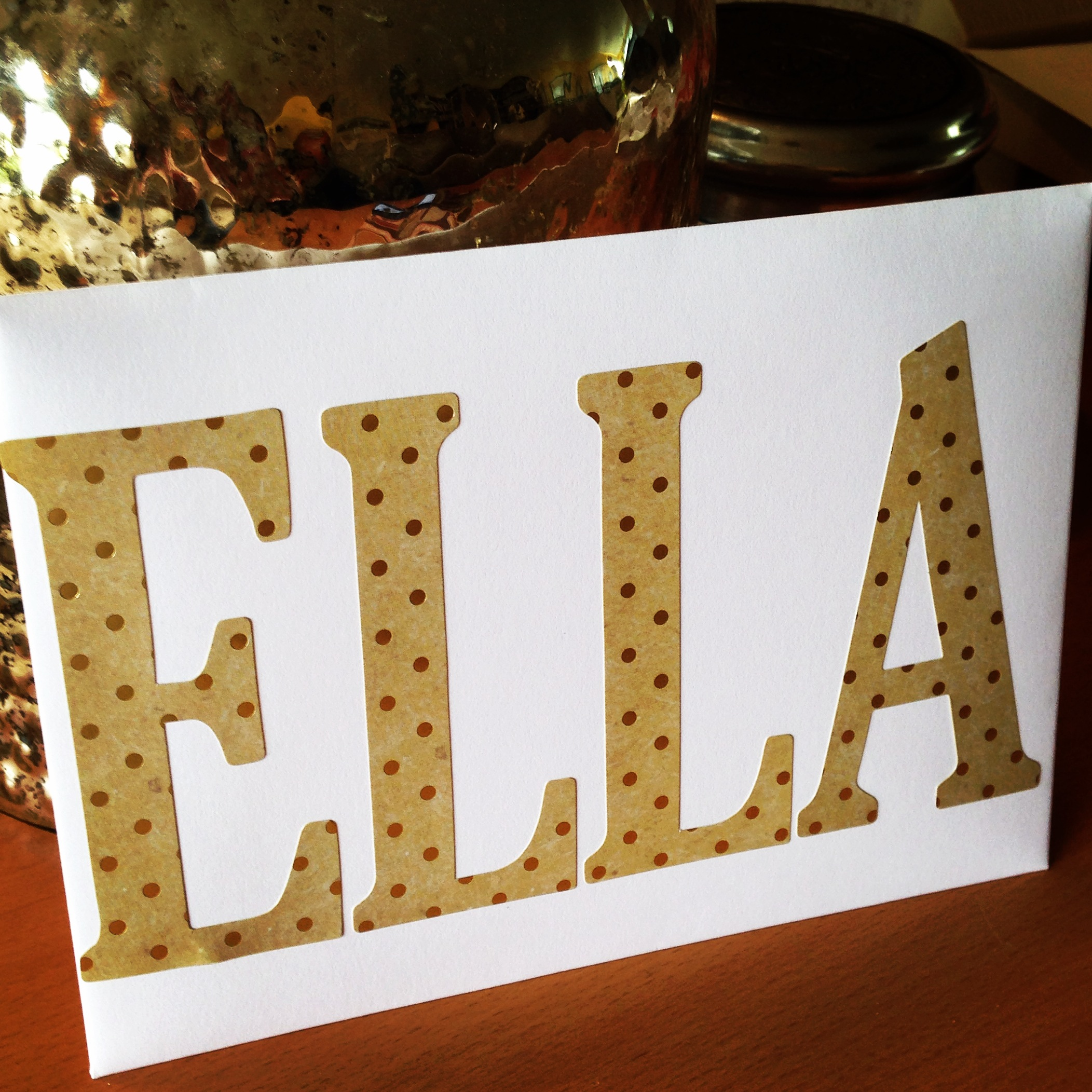 Lincoln Kraft with Gold Foil polka dots - Alphabets.  Upper case, so cute and fun.  STICKERS.