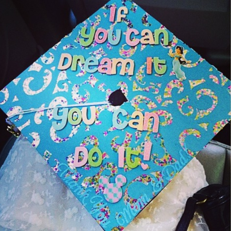 Jewel Glitter Chipboard alphabet stickers used to decorate an awesome 2014 Graduation Cap.  DIY made awesome.