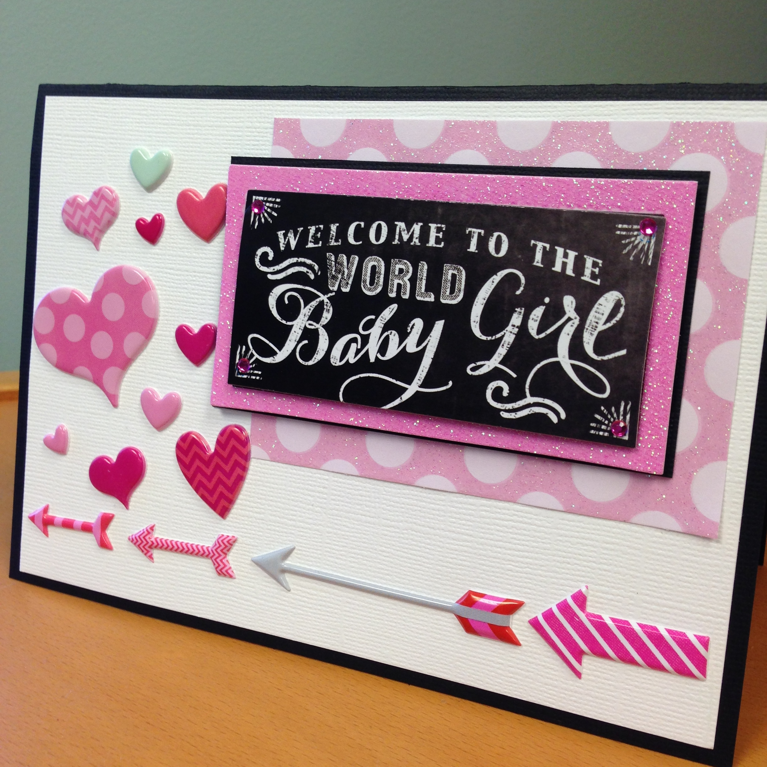 mambi homemade card:  baby girl with soft spoken embellishments.