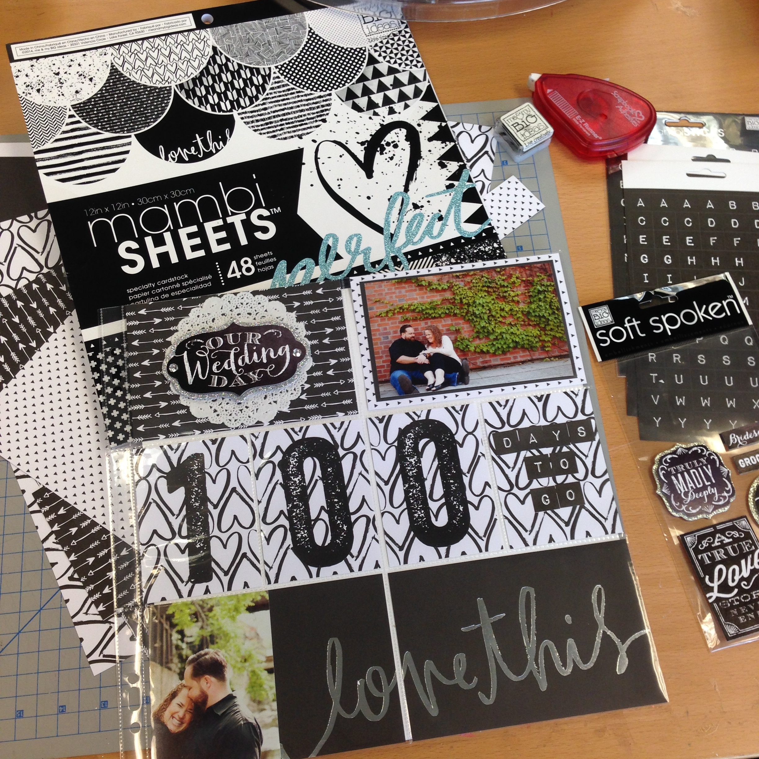 100 days to go wedding countdown scrapbook / POCKET PAGES layout.