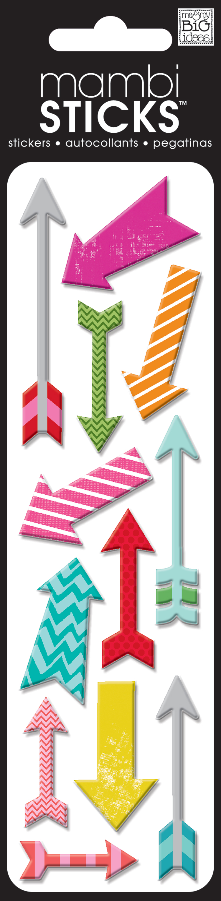 mambiSTICKS puffy arrow multi colored scrapbooking stickers.