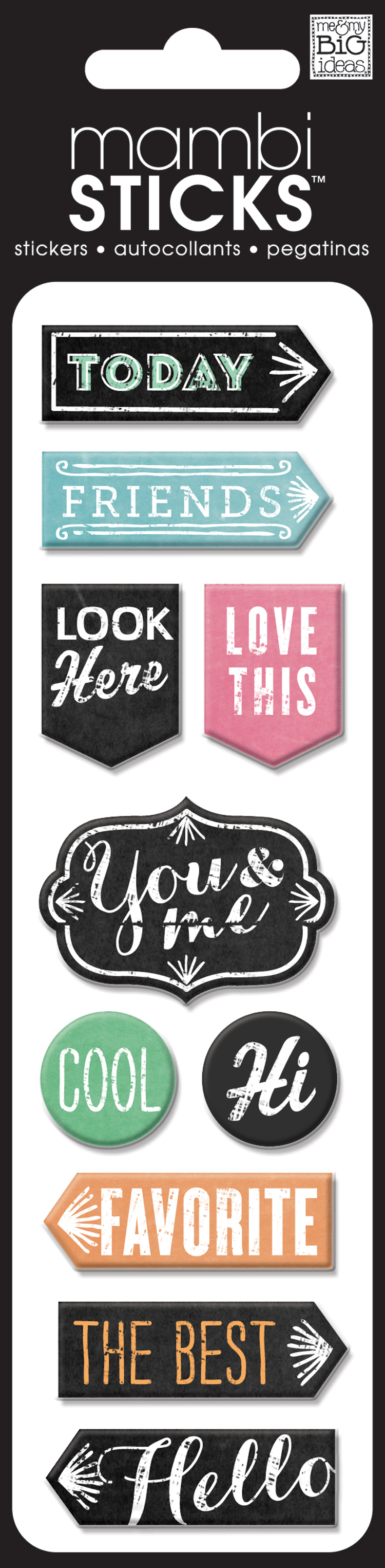 Puffy mambiSTICK stickers that have cute sayings.