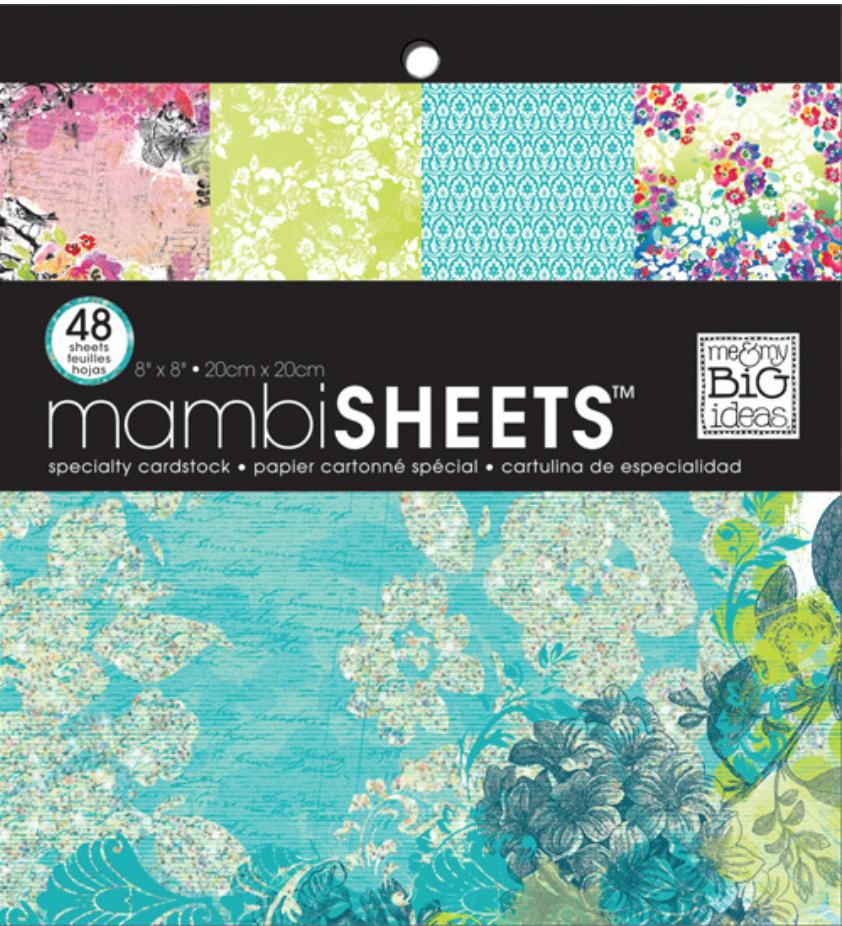 Watercolor Blue 8x8 paper pad - mambiSHEETS.
