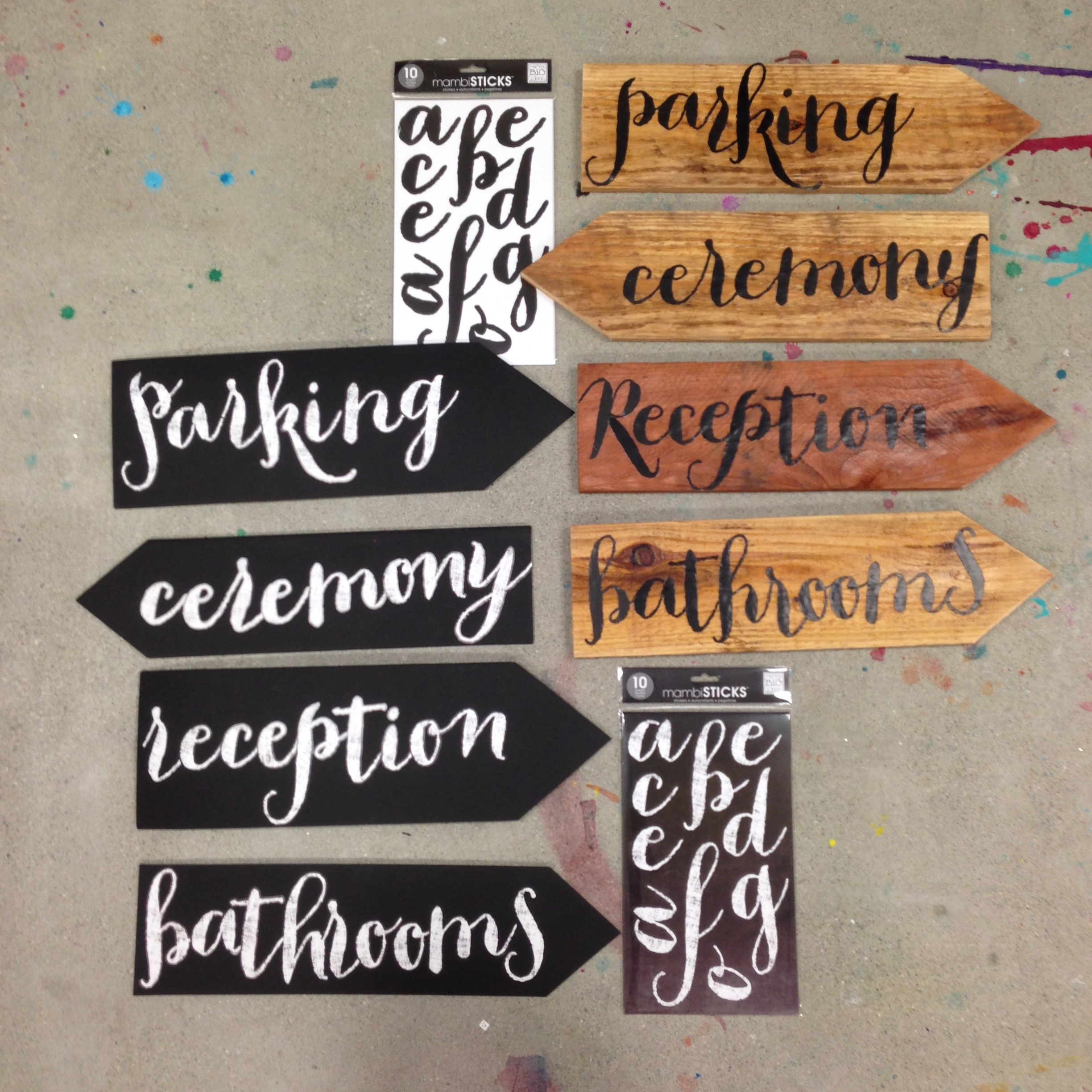 DIY wedding signs using mambiSTICKS jumbo alphabet stickers.