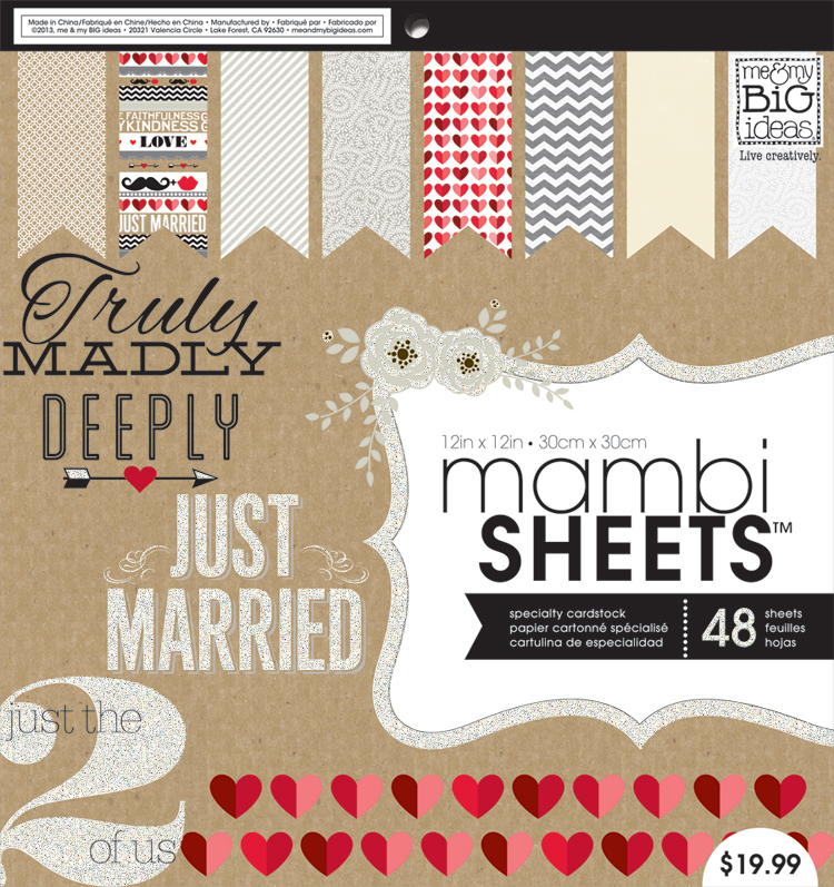 mambiSHEETS wedding, just married scrapbooking paper pad.