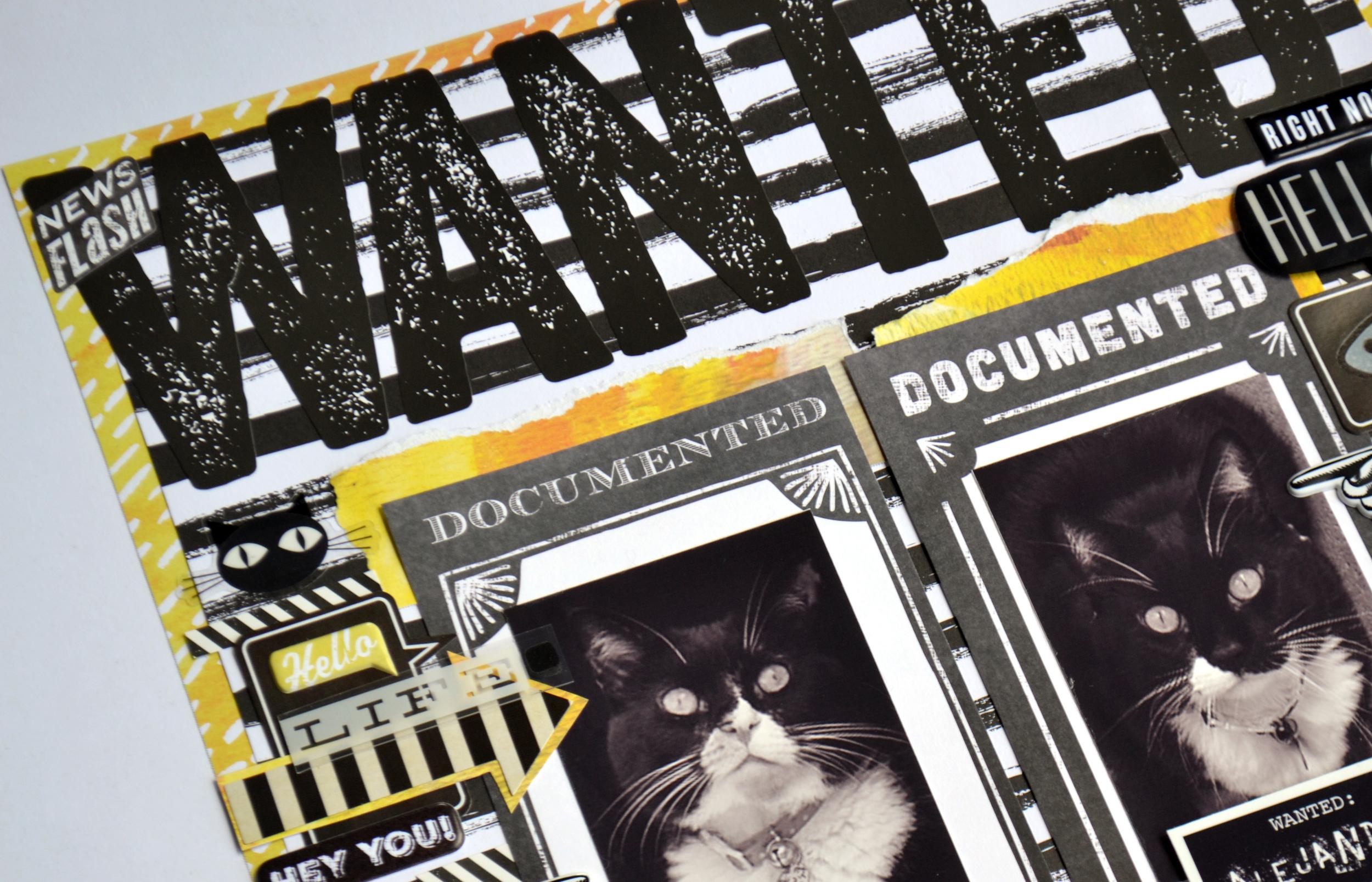 'WANTED' scrapbook page by Amanda Rose Zampelli | me & my BIG ideas