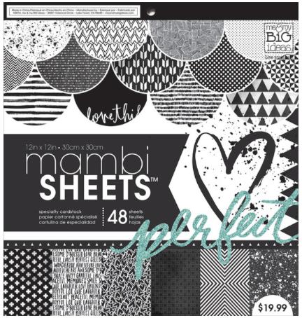 Black & White Trendy Graphic mambiSHEETS 12x12 paper pad | me & my BIG ideas