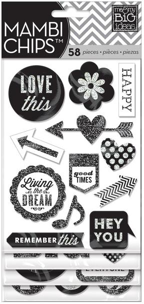 Black & White Glitter mambiCHIPS   me & my BIG ideas