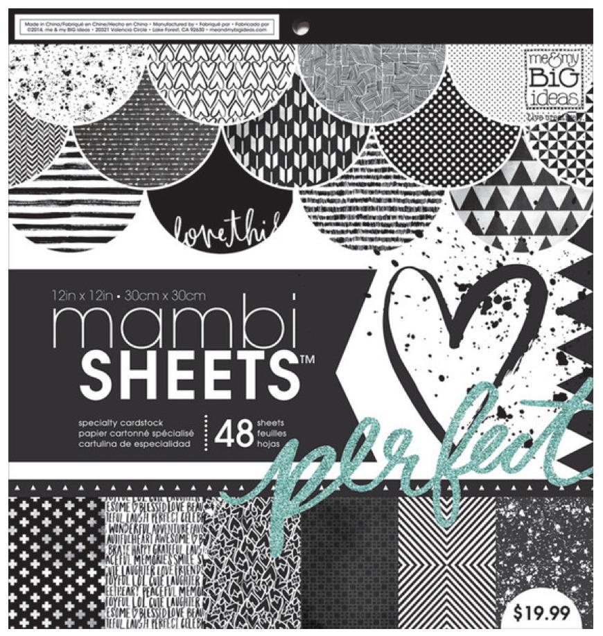 Black & White Trendy Graphic Prints 12x12 mambiSHEETS paper pad | me & my BIG ideas