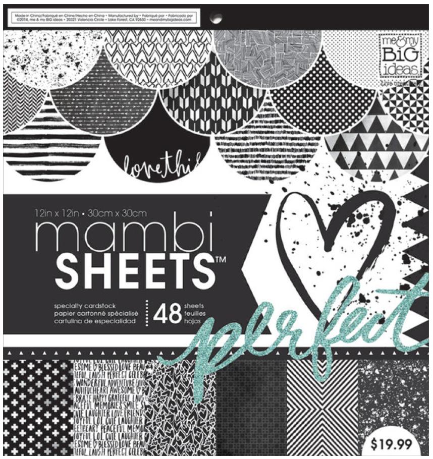 Black & White Trendy Graphics 12x12 mambiSHEETS paper pad | me & my BIG ideas