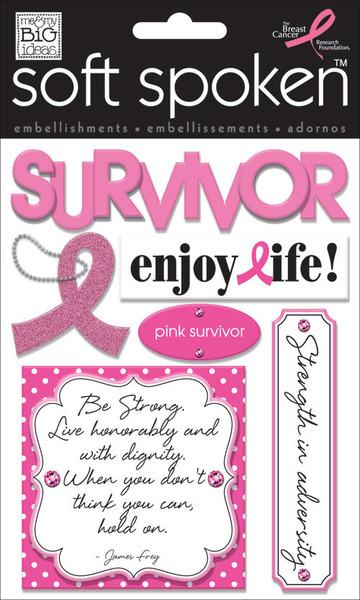 'Survivor' Breast Cancer soft spoken mambiSTICKS stickers | me & my BIG ideas