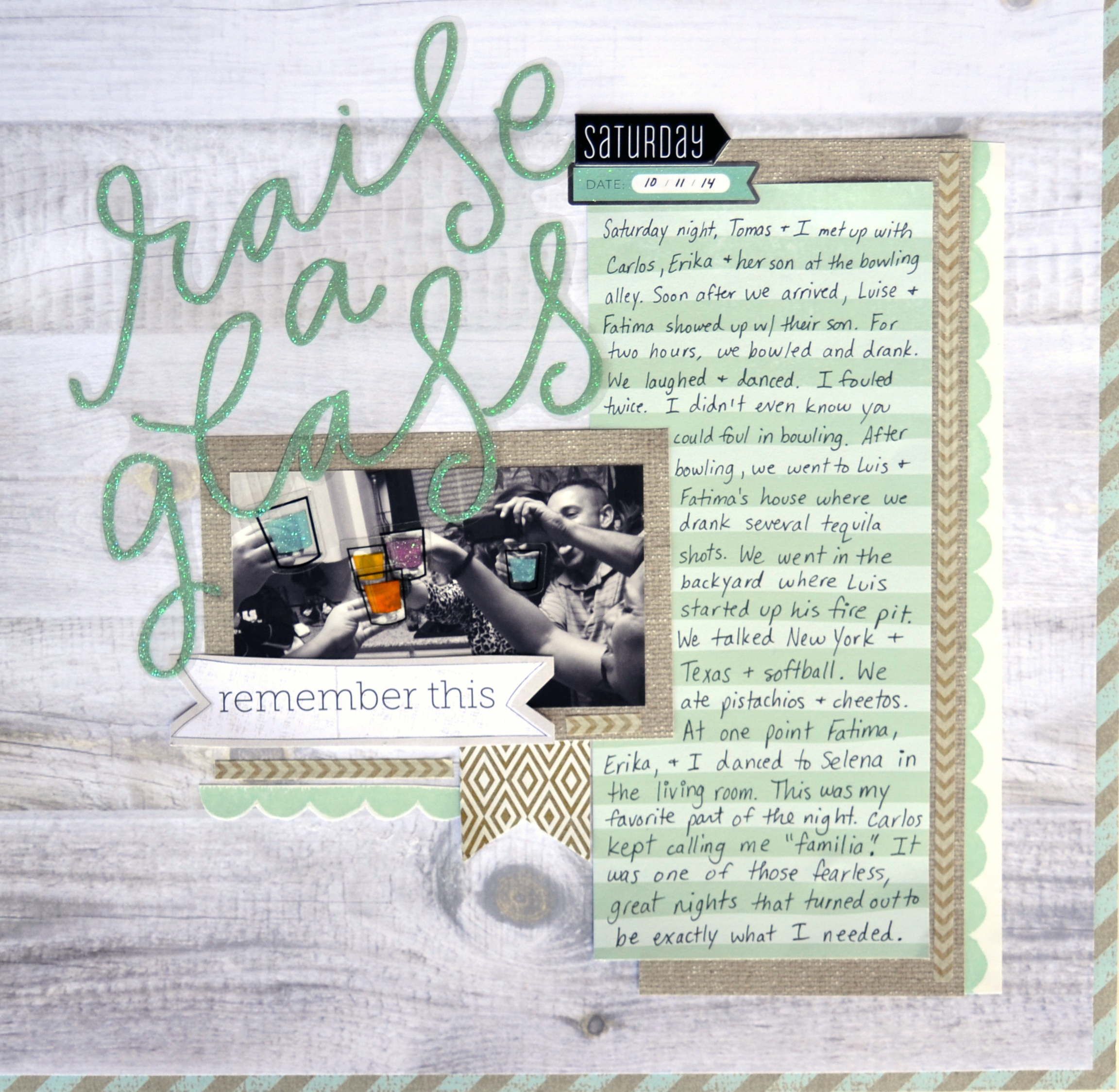 'Raise a Glass' scrapbook page layout by Amanda Rose Zampelli using a mambi jumbo mambiSTICKS sticker | me & my BIG ideas