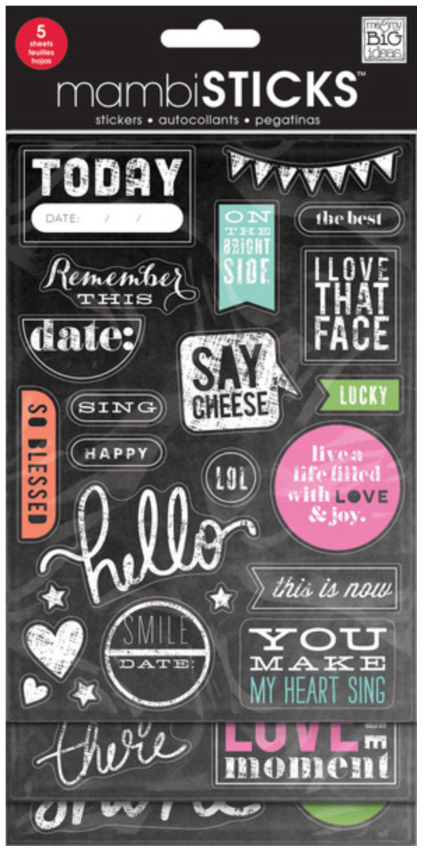 Chalkboard Value Pack - 'Today' mambiSTICKS stickers | me & my BIG ideas